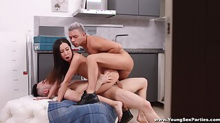 Untrained Asian girl fucks with two males and loves it