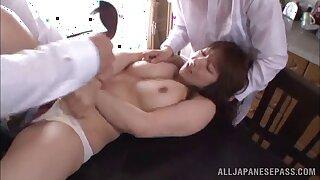 Chubby Japanese chick Shiori Kamisaki loves having sex with 2 guys