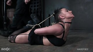 Wall-to-wall submissive nympho Maria Tap is tied up in some outlandish poses