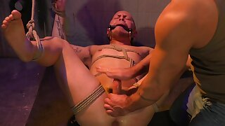 Gagged male pest fucked with reference to scenes of brutal gay  BDSM