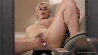 Helena Locke fucks herself with her sex toy and her dildo machine