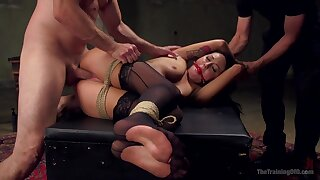 Restless anal in bondage extreme near two dominant males