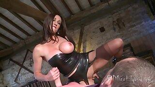 Serious English Lady pleasuring lucky slave - Handjob