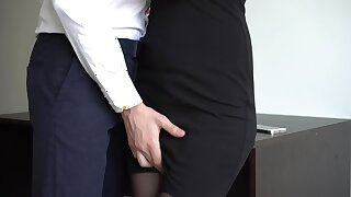 Secretary Jacks Off Her Boss, Makes Him Squirt On Her Dress And Thigh