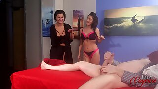 Ladies' strokes his large penis after a long time Lola Knight takes off her clothes
