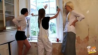 Dude with long hair gets his dick pleasured by Donna and Krystal