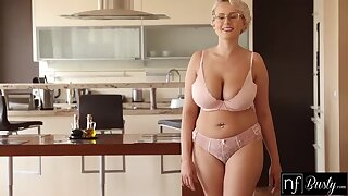 Busty blonde temptress with pierced nipples plus glasses likes about get fucked from the back