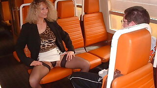 Fresh boy and hot mom on a train