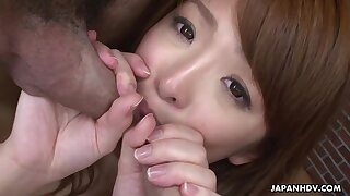 After smudged cocks Japanese hottie gets her bushy pussy drilled mish