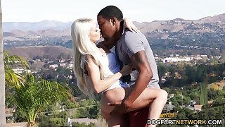 Lovely blondie Elsa Jean gets a mouthful of cum after stupid sex hither black boyfriend