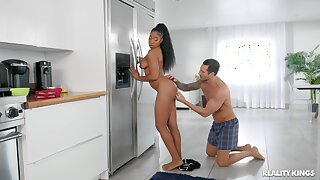 Interracial fingering in the kitchen with amazing ebony Lala Ivey
