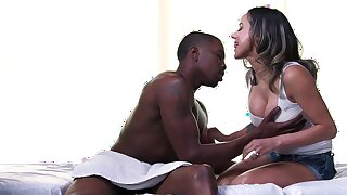 Black dude drives busty Latina crazy