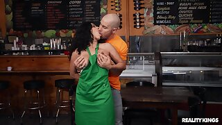Brunette babe fucks at the bar with one lucky customer