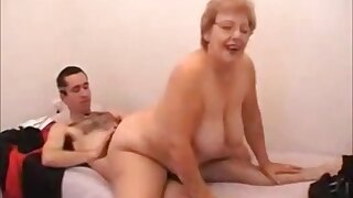 Old and fat woman in steamy bushwa riding action